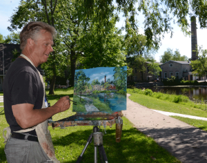 Gary Millard painting in Boy Scout Park - Cedarburg, Wisconsin